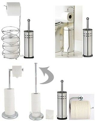 New Toilet Brush & Paper Roll Holder Stand Set Chrome Free Standing Bathroom Loo