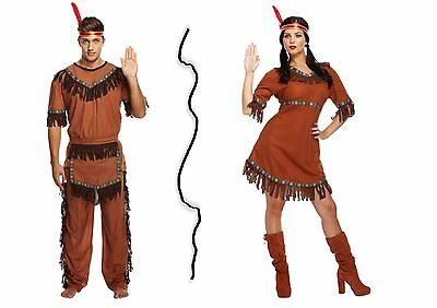Adult Native American Red Indian Male & Female  Warrior FancyDress Up Costumes