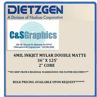 "1 ROLL 36"" x 125'  4 mil Double Matte Inkjet Plotter Film"