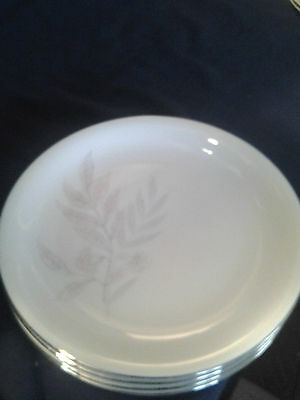 "KPM Krister 7 ½"" Salad Plates set of 4 Blue grey leaves Gold Trim"