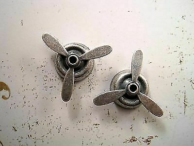 Small Oxidized Silver Plated Brass Propellers (2) - SORAT1162