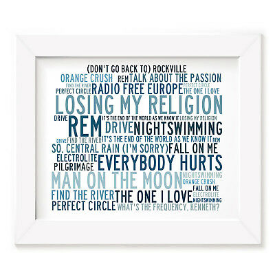`Crystalline` REM Art Print Typography Song Lyrics Signed & Numbered Mini Poster