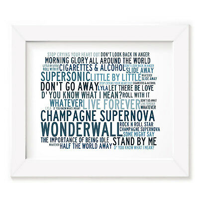 `Crystalline` OASIS Art Print Typography Song Lyrics Signed & Numbered Poster