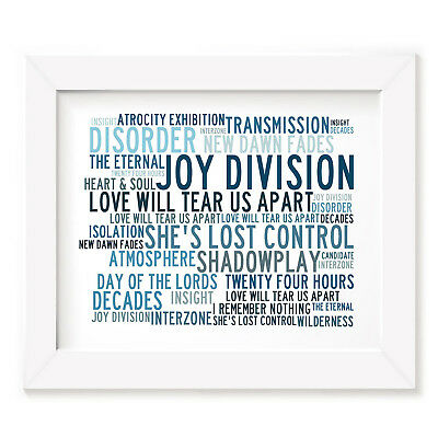 `Crystalline` JOY DIVISION Art Print Typography Song Lyrics Signed Mini Poster