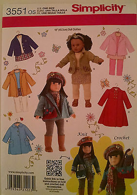"""Simplicity 3551 American Made Sewing Pattern for 18"""" Girl doll clothes"""