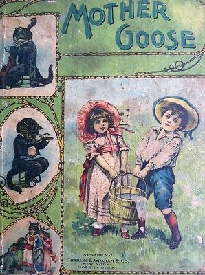 Rare Antique Mother Goose Victorian Very Old Beautiful Cover Kittens