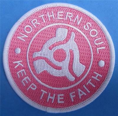 Northern Soul Patch - Keep The Faith Record Centre Insert - Pink - 85Mm Dia