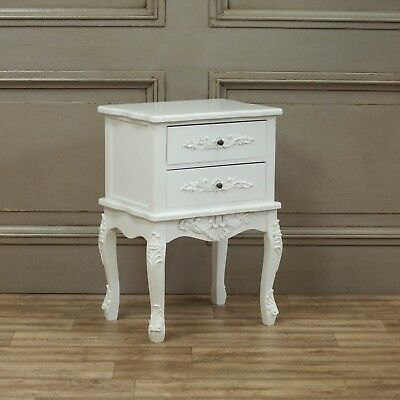 French Style White Shabby Chic 2 Drawer Bedside Table