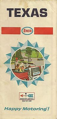 1968 ENCO HUMBLE OIL Road Map TEXAS San Antonio Houston Austin Dallas Galveston