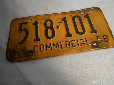 Vintage Collectible 1958 New York Commercial Auto License Plate