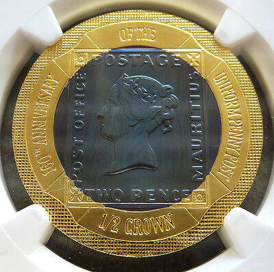 2000 Gold Gibraltar 1/2 Crown Uniform Penny Post Bi-Metallic Coin Ngc Proof 69