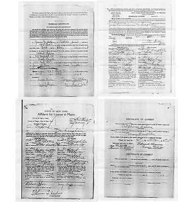 Al Capone MARRIAGE LICENSE CERTIFICATE, 4 RARE Gangster Documents, New York 1918