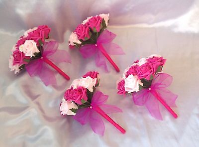 Wedding Flowers Artificial Pink Ivory Hot Pink Foam Rose Bridesmaid Bouquets X 4
