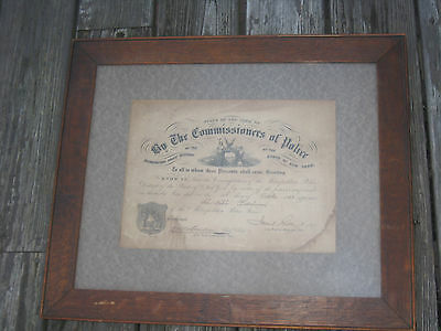 antique 1858 NYPD New York City Metropolitan Police appointment certificate