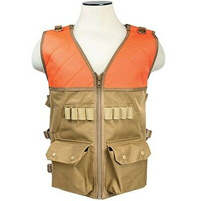 NcStar CHV2942TO Tactical Hunting Vest w/Ammo Pouch Blaze Orange/ Tan Large-XL
