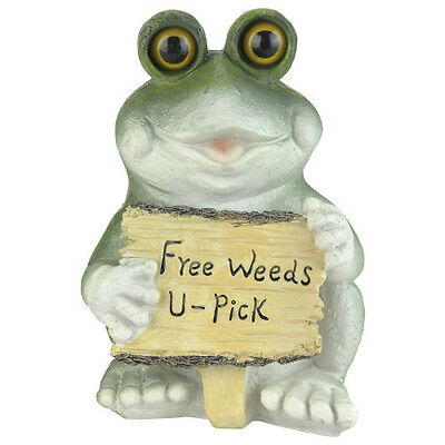 """Frog With Sign Garden Statue Free Weeds U Pick True Living 7"""" Height New"""