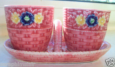RARE! Marutomoware~Japan~Oriental~Hand-Painted~Pink & Floral~Egg Cups & Tray~Ex!
