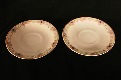 VINTAGE 1917 EDWIN M KNOWLES VITREOUS SAUCERS ( 2) FLORAL PATTERN WITH GOLD TRIM
