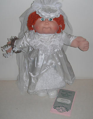 CPK 1986 #12 HM Cabbage Patch Doll, Red Loop Pony Green Eyes BRIDE  Wedding Gown