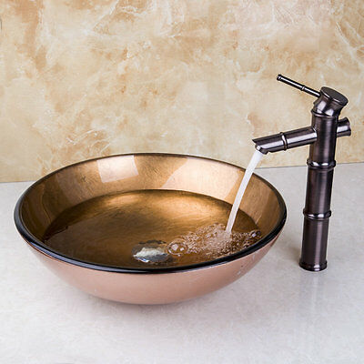 Bathroom Basin Hand Paint Glass Vessel Sink+Oil-Rubbed Bronze Faucet+Drain xfrt8