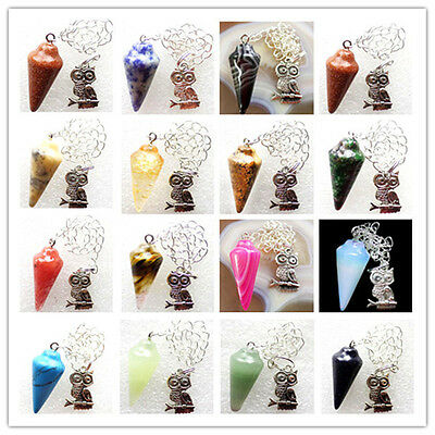 L084 Beautiful Mixed Gemstone Pendulum & Tibetan Silver Owl Pendant Bead