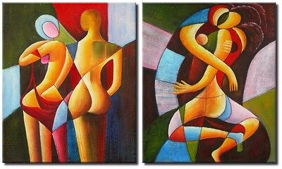 Large Cubism Oil Painting on Canvas x2 Panel. Cubist Oil Paintigns ,  Huge Size!