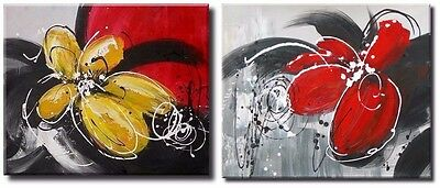 Extra Large Oil Painting on Canvas x2 Huge Panel. Modern Abstract Flowers