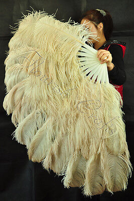"XL 2 layers Wheat Ostrich Feather Fan Burlesque perform friend 34"" x 60"""