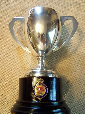FANCY CLASSICAL STYLE REGAL SILVER TROPHY  with CREST AND STAND - USE AS VASE?