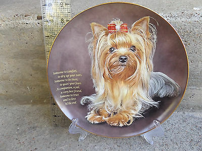 """Danbury Mint Someone to Comfort"""""""" Yorkshire Terrier, Yorkie dog  plate w/ stand"""