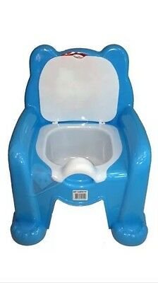 Child Toilet Seat Blue Potty Training Seat Chair Removable Lid Kids Baby New