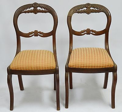 PAIR OF LATE 19c ANTIQUE HEAVILY CARVED FLORAL PARLOR SIDE CHAIRS