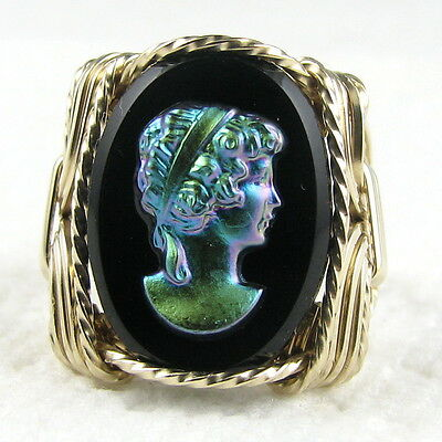 Aurora Iris Black Glass Cameo Ring 14K Rolled Gold Jewelry Any Size