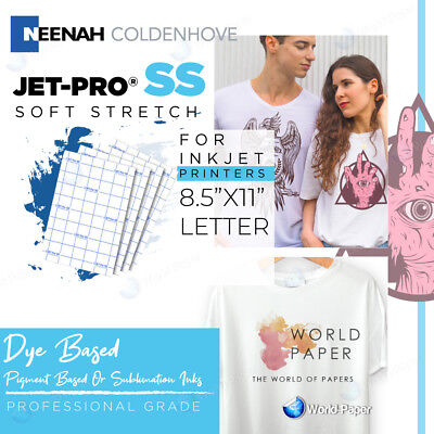 "Inkjet Heat Transfer Paper Iron On Jet-Pro SS Sofstrech 8.5"" x 11"" 100 SHEETS"