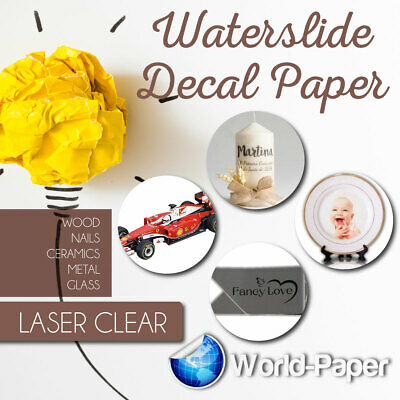 CLEAR LASER Waterslide Decal Transfer Paper, 5 sheets for White/Light Surfaces
