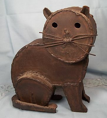Cat Sculpture Statue Vintage Hand Crafted Wrought Iron Signed Folk Art Animals