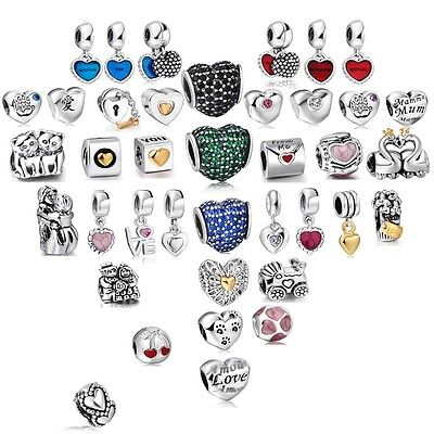 Hot Love Heart Clip Beads Fit European Charm Sterling 925 Silver Bracelet Chains