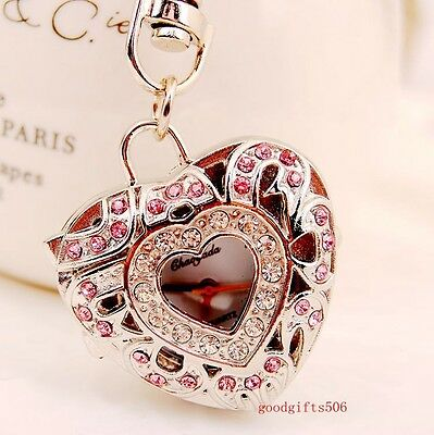 New 5pcs Double Heart  Crystal girl lady Rhinestone Key Ring watches gifts LK20