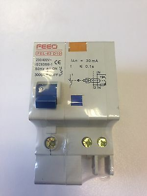 10A-32A 30mA RCBO 2 Pole D  3KA motor rated (with dimensions)