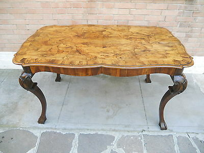 Rare Italian Venetian Luois Xv Baroque  Burr Walnut Table Desk  1900
