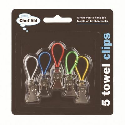 Chef Aid Tea Towel Dish Cloth Hanging Clips Hanger Hooks