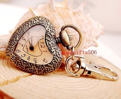 New 10pcs bronze  Heart design  girl lady Key Ring Chain watches gifts LK18