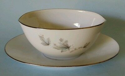 Noritake Sezanne gravy boat with attached underplate 6851 white nice
