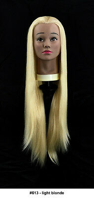 """28"""" Recurlable Human Hair Mix Blend Cosmetology Mannequin Head & FREE CLAMP (G)"""
