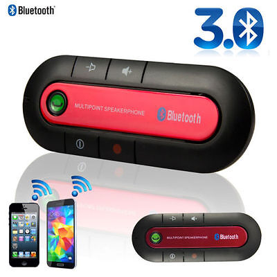 Red Wireless Bluetooth Hands Free Car Kit Speakerphone Speaker Phone Visor Clip