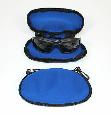 Blue Padded Sunglasses Glasses Case / Pouch With Carry Clip Ideal For Holiday