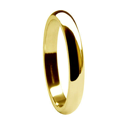 2.5mm 18ct Yellow Gold Wedding Rings D Shape 750 UK HM Heavy 2.9g Bands H-R NEW