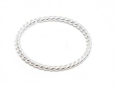 Nose Ring Small Delicate Fine Twisted Wire 7mm 22g (0.6mm) Sterling Silver