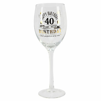 Personalised 40 40th Happy Birthday Wine Glass & Gift Box G32240 Add Own Message