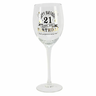 Personalised 21 21st Happy Birthday Wine Glass & Gift Box G32221 Add Own Message